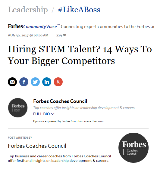 Hiring STEM Talent? 14 Ways To Sway Them From Your Bigger Competitors